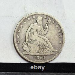 1861-o Liberty Assise Demi-dollar Vf Détails (#35935)