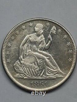 1861-o Liberty Half Dollar Demon Détails Nettoyés