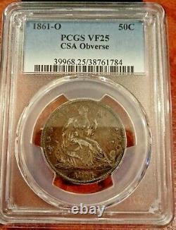 1861-o Seated 50c Csa Confederate Obverse Die Crack À Nose Pcgs Vf 25 Rare