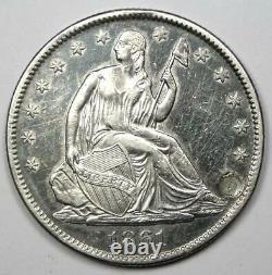1861-o Seated Liberty Half Dollar 50c Xf Détail (branché) Pièce De Monnaie De Guerre Civile