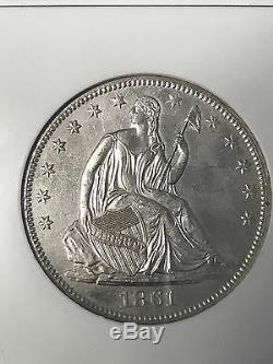 1861-o Unc, Demi-liberté Assis Dollar Ngc Shipwreck Effet, Ss République