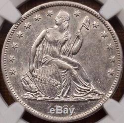 1861-o W-11 Confédéré Avers Assis Moitié, Ngc Au55, Rare! Davidkahnrarecoins