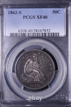 1862-s Assis Liberty Demi-dollar Pcgs Xf40 Livraison Gratuite 5-rntx
