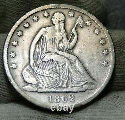 1862s Seated Liberté Demi-dollar 50 Cents. Date De Semi-key, Nice Coin (8809)