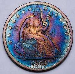 1863 S Assis Liberty Demi-dollar Key Date Rare Avec Des Marques De Côtelettes. #201