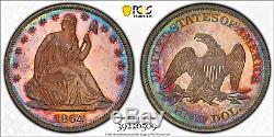 1864 50c Pcgs Pr65 Assis Liberté Demi-dollar Pq (seulement 9 Fonctionnaires De Rang Supérieur Par Pcgs!)
