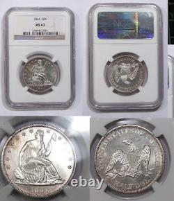 1864-p Assis Silver Half Ngc Ms63 Amazing, Looks Better Inv #344b-12
