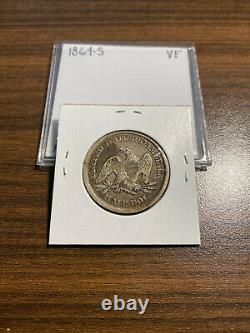 1864-s Siège Liberty Argent Demi-dollar 50c Very Fine (vf) Type 2, Pas De Devise