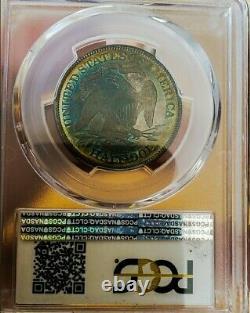 1867 Pr63 Assis Liberty Demi Dollar Pop 39 Rainbo Vibrantavec Rare Cette Nice