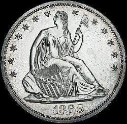 1868 Proof Seated Liberty Demi-dollar Argent - Gem Proof Détails - #l238
