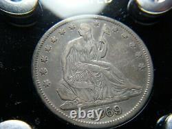 1869 Seated Liberty Half Dollar Nice Problème Collectible Gratuit Pièce 90% Argent