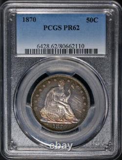 1870 Assis Demi-dollar Preuve Pcgs Pr62 Great Eye Appeal Strong Strike