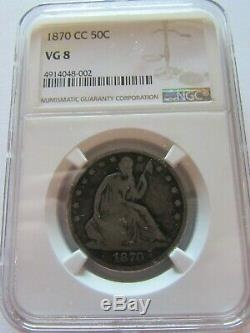 1870 CC Assis Liberté Demi-dollar Mbac Vg 8 Carson City 50 Cents Silver Coin