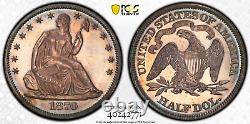 1870 Pcgs Pr64 Cac Rare! Juste 25 Finer Incl. Cameos Proof Assis Demi-dollar 50c