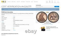 1870 Pcgs Pr64 Seulement 25 Finer Incl. Camées Rare Dans Proof Demi-dollar Assis 50c