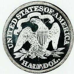 1870 Pr64 Seated Liberty Half Dollar. Date Dure / Preuve Avec Incroyable Cameo