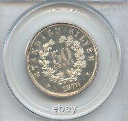 1870 Seated Liberty Half 50c Pattern Silver Half Dollar Pcgs Pr62 Cac