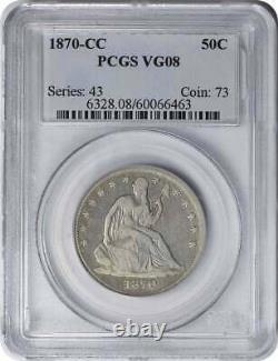 1870-cc Liberty Assis Argent Demi Dollar Vg08 Pcgs