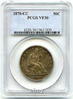 1870-cc Liberty Seated Silver Half Dollar, Pcgs Xf-30, Affordable Great CC Coin