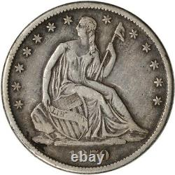 1870-s Us Seated Liberty Argent Demi-dollar 50c Vf