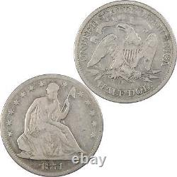 1871 CC Seated Liberty Half Dollar Vg Très Bon 90% Argent 50c Us Type Pièce