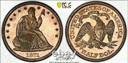 1871 Pr62 Ultra Cameo Siège Liberty Demi-dollars Plus Larges Miroirs Lumineux