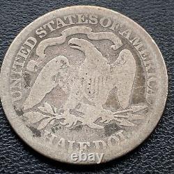 1873 CC Seated Liberty Demi-dollar 50c Circulé Carson City Rare #25800