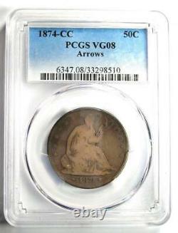 1874-cc Arrows Seated Liberty Half Dollar 50c Coin Pcgs Vg8 2 150 $ Valeur