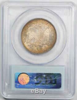 1875 50c Assis Liberté Demi-dollar Pcgs Ms 64 Uncirculated Patinées