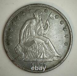 1875 Assis Liberté Demi-silver Dollar Us Type Pièce Presque Ongecirculeerd Au 50c