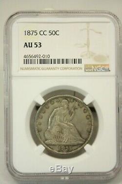 1875 CC 50 Cent Assis Liberté Demi-dollar Au 53 Ngc Graded