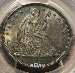1875 La Moitié Accroupi Liberté Dollar Pcgs Ms 63