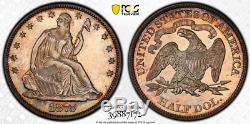 1875 Pcgs Pr64 Cac 700 Minted Spectaculaire Proof Assis Liberté Demi-dollar 50c