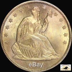1875 S Assis Liberty Demi Dollar Pcgs Ms 63 1er Gen Rattler Cac Pq