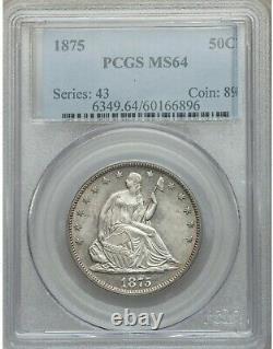 1875 Seated Liberty Half Dollar Pcgs Ms64