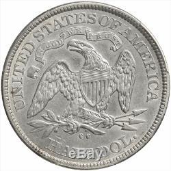 1875-cc Assis Liberté Demi-dollar Pcgs Au 50