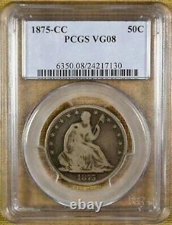 1875-cc Pcgs Vg08 Assis Demi-dollar Meilleure Date