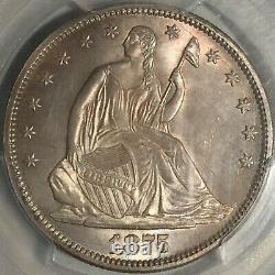 1875-s Assis Liberty Half == Ms-64 Pcgs == Tonification De La Lumière Sur Les Surfaces Satinées=
