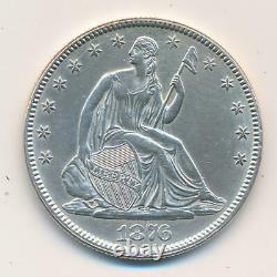 1876 Seated Liberty Demi-dollar, Raw