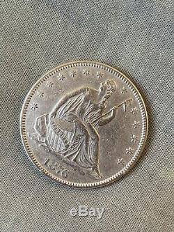 1876 argent Assis Liberté Demi-dollar Belle Superbe High Grade Rare
