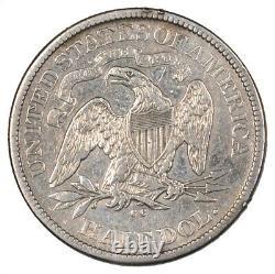 1876-cc Liberty Siège D'argent Demi-dollar (carson City) 50c Vf / Xf