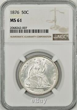 1876 la Moitié Liberté Assis Dollar Ngc Ms61 Supérieure Luster Blanc Brillant # Bnl8