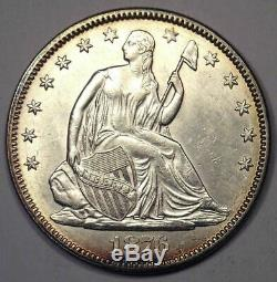 1876 seated Demi-liberté Dollar 50c Coin Ongecirculeerd Détails Rare Coin
