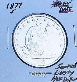 1877-s San Francisco Mint Date Clé! U.s. Seated Liberty Demi-dollar. E7