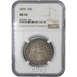 1878 50c Assis Liberté Demi-dollar En Argent Coin Au 53 Mbac