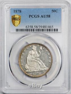 1878 50c Assis Liberté Demi-dollar Pcgs Au 58 Preuve Comme Exceptionnelle Looks