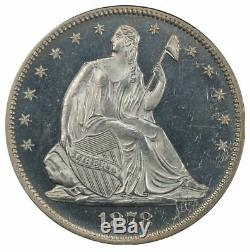 1878 50c Demi-dollar Liberté Assis, Motto Pcgs Pr63cam