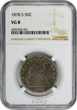 1878 S Assis Liberté Demi-dollar Mbac Vg 8 Très Bon Roi De La Série