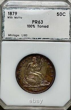 1879 Liberté Assise 50c Demi-dollar Avec Devise Proof Toned