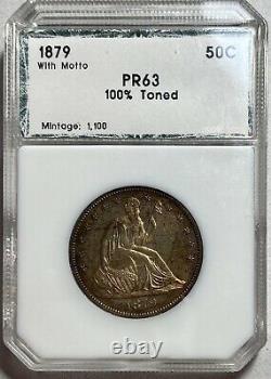 1879 Liberty Assis 50c Demi-dollar Avec Motto Preuve Toned